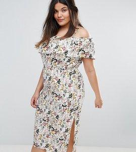 Read more about Rage plus cold shoulder midi dress - floral print