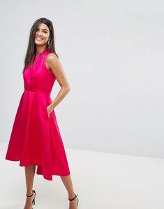 Read more about Closet satin hi-low skater dress - pink