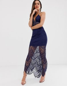 Read more about Love triangle plunge front maxi dress with eyelash lace train in navy