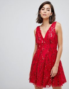 Read more about City goddess sequinned tassel mini skater dress - red