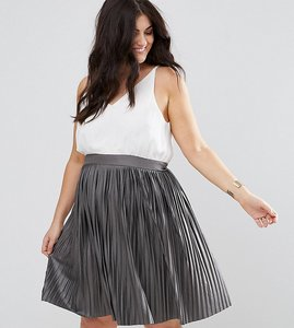 Read more about Ax paris plus pleated 2-in-1 dress - white and khaki