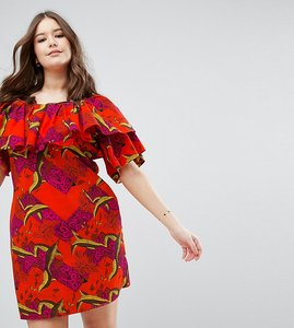 Read more about Asos curve off shoulder dress in orange tropical print - orange tropical