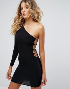 Read more about Club l one shoulder 80 s mini bodycon dress - black