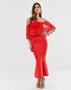 Read more about Forever u bardot midi bandage dress with crochet lace detail in red