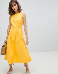 Read more about Warehouse tie back midi dress - yellow