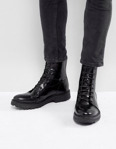 Read more about Asos lace up high boots in black leather with heavy gum sole - black