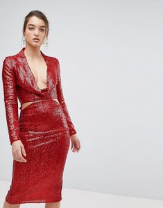 Read more about Asos cowl front cut out sequin midi dress - red