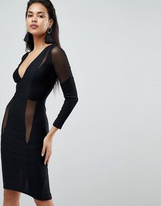 Read more about Asos long sleeve deep plunge bandage mesh midi dress - black