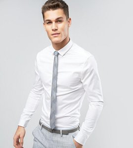 Read more about Asos tall wedding skinny sateen shirt with turned back placket in white - white