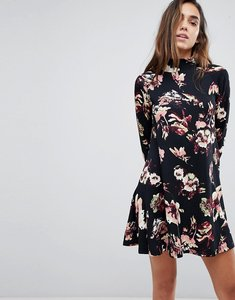 Read more about Ax paris high neck long sleeve swing dress - black floral
