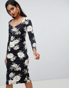 Read more about Asos midi pencil dress with sweetheart neck in floral print - floral print