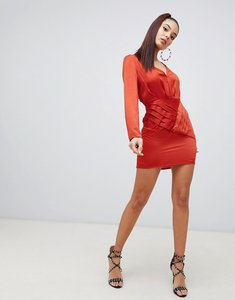 Read more about Missguided satin side split shift dress in rust - orange