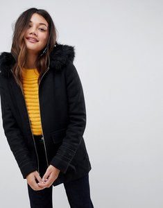 Read more about Stella morgan smart parka coat with faux fur trim - black