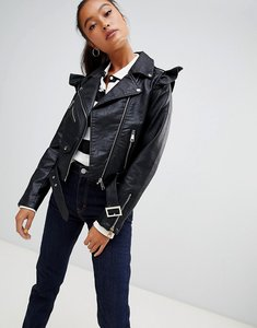Read more about Parisian faux leather jacket with frill detail - black