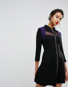 Read more about Morgan mesh panel zip front dress - black