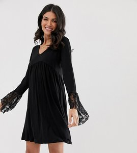 Read more about Asos design tall v neck swing dress with flared lace cuffs - black