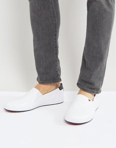 Read more about Tommy hilfiger howell slip on plimsolls leather in white - white