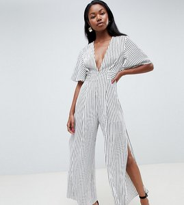 Read more about Parallel lines plunge front jumpsuit with wide leg splits in stripe - white black stripe