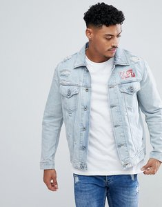 Read more about Diesel d-hill distressed contrast logo denim jacket - lightwash 01