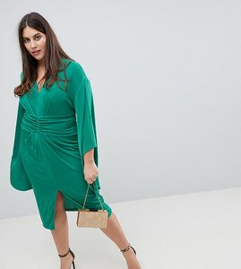Read more about Asos curve deep plunge slinky kimono midi dress - emerald green
