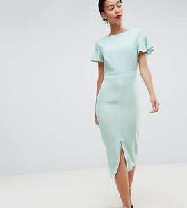 2a08526ac1b Read more about Asos design tall midi wiggle dress with fluted sleeve - sage