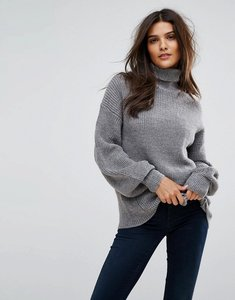 Read more about Vero moda knitted roll neck jumper - grey