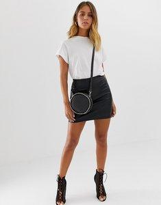 Read more about Asos design sculpt me leather look mini skirt - black