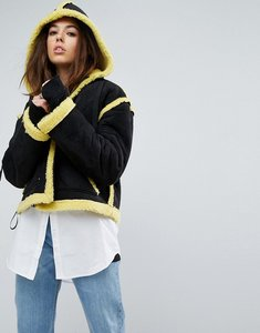 Read more about Story of lola faux shearling jacket with contrast seams - black