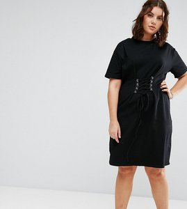 Read more about Alice you corset detail t-shirt dress - black