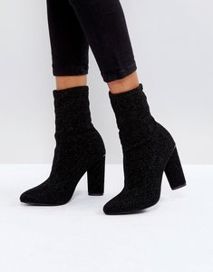 Read more about Glamorous black high sock heeled ankle boots - black