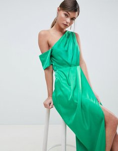 Read more about Asos design one shoulder maxi dress in hammered satin - green