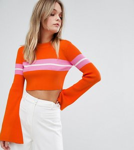 Read more about Missguided flare sleeve stripe cropped jumper - multi