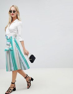 Read more about Oasis midi skirt with tie detail in stripe - multi