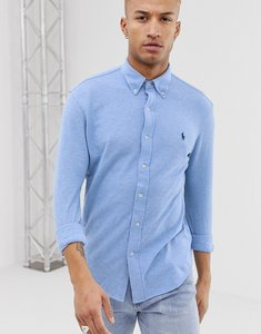Read more about Polo ralph lauren player logo button down pique shirt slim fit in blue marl