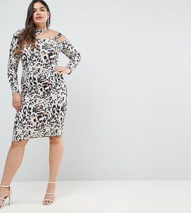 Read more about Asos curve midi dress in animal print with cut away neck - multi