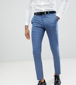 Read more about Selected homme skinny fit suit trouser in navy grid check - light blue check