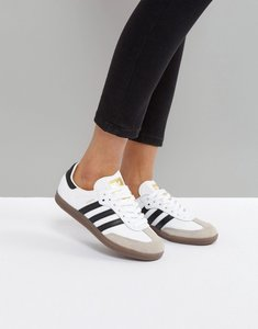 Read more about Adidas originals samba leather trainers - white gum sole