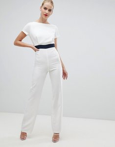Read more about Vesper wide leg jumpsuit with contrast waistband in white