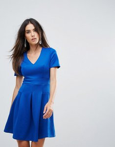 Read more about Club l v neck short sleeve skater dress with pleat detail - cobalt
