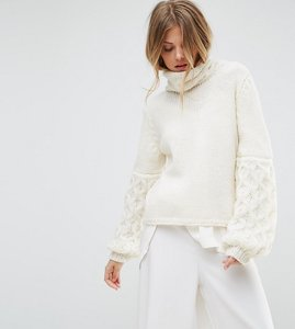 Read more about Oneon hand knitted textured sleeve jumper - white