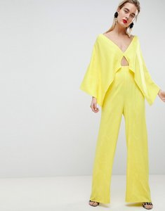 Read more about Asos design jumpsuit in tropical jacquard - yellow