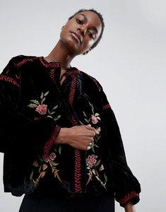 Read more about Raga rosie posie velour embroidered jacket - black