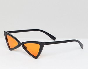 Read more about Glamorous slim black cat eye sunglasses with orange lens - black with yellow