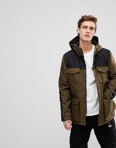 Read more about Element hemlock parka jacket with contrast panels in khaki - green