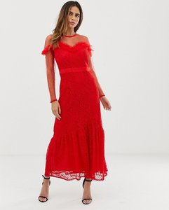 Read more about Liquorish maxi dress with lace overlay and ruffle detail