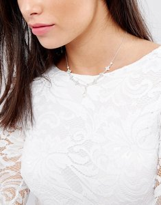 Read more about Johnny loves rosie drop back bridal necklace - silver pearl