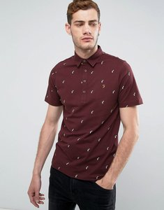 Read more about Farah foliot slim fit polo with ditsy print in burgundy - farah red 626