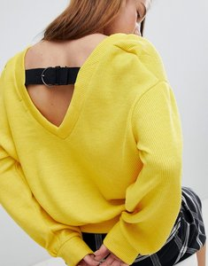 Read more about Bershka buckle back balloon sleeve jumper - yellow