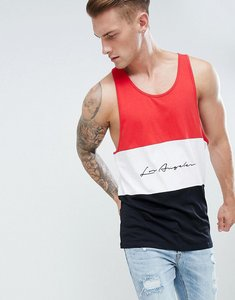 Read more about New look colour block vest with la embroidery in red - bright red