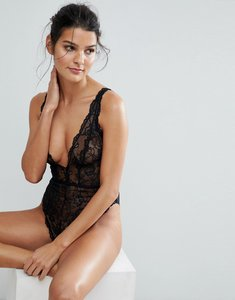 Read more about Asos blair high leg lace body with lace up back - black